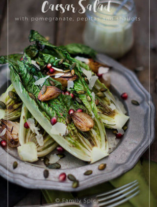 Grilled Caesar Salad with Pomegranate, Pepitas and Shallots by FamilySpice.com