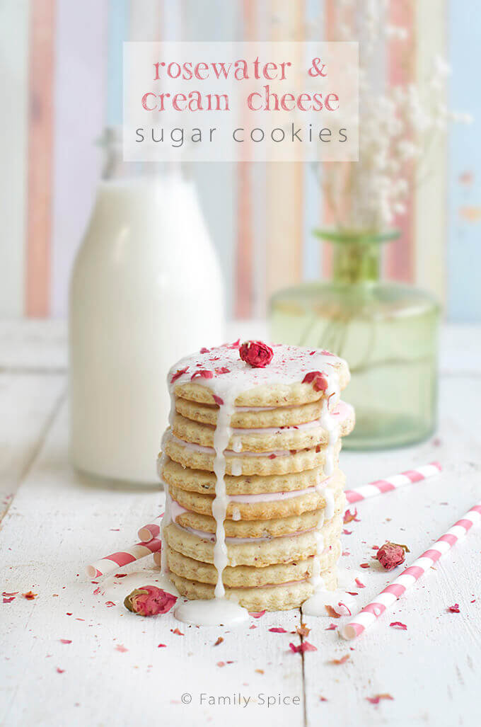 Rosewater and Cream Cheese Sugar Cookies by FamilySpice.com