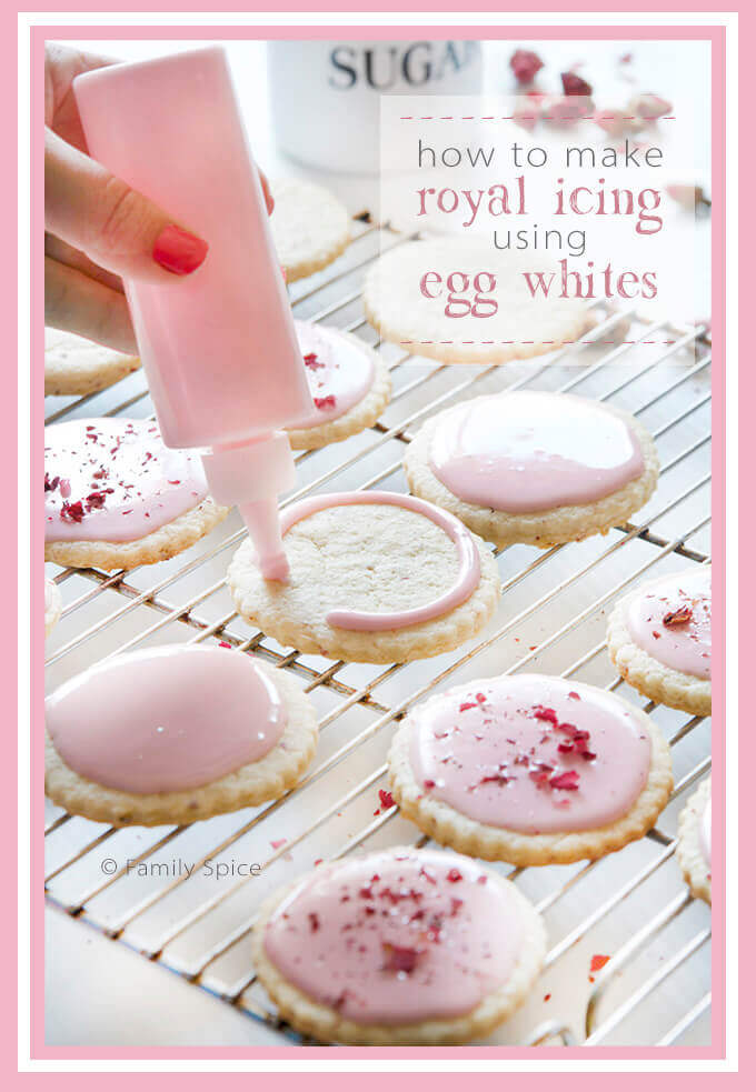 How to make egg white royal icing and rosewater and cream cheese sugar cookies by FamilySpice.com
