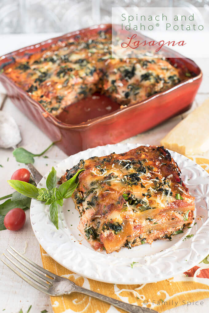 Spinach and Idaho® Potato Lasagna for Meatless Monday by FamilySpice.com