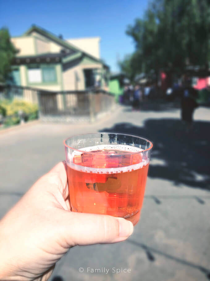 Boysenberry cider during Knott's Berry Farm's Boysenberry Festival - by FamilySpice.com