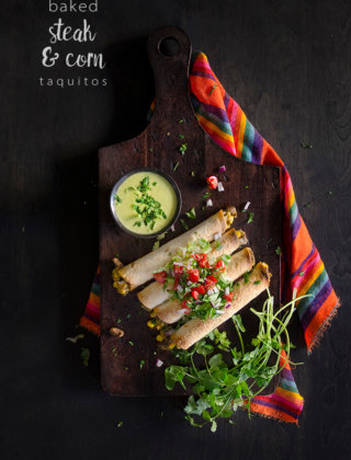 Baked Steak Taquitos with Corn and HERDEZ® Guacamole Salsa by FamilySpice.com