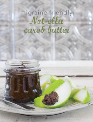 "Vegan Nutella | Migraine Friendly Not-ella Carob Butter - recipe from ""The Migraine Relief Plan—An 8-Week Transition to Better Eating, Fewer Headaches, and Optimal Health"" by Stephanie Weaver, MPH, CWHC. Featured on FamilySpice.com"