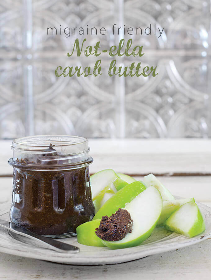 """Vegan Nutella   Migraine Friendly Not-ella Carob Butter - recipe from """"The Migraine Relief Plan—An 8-Week Transition to Better Eating, Fewer Headaches, and Optimal Health"""" by Stephanie Weaver, MPH, CWHC. Featured on FamilySpice.com"""