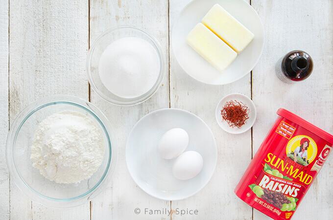 Ingredients for Persian Saffron Raisin Cookies (shirini kishmishi) by FamilySpice.com