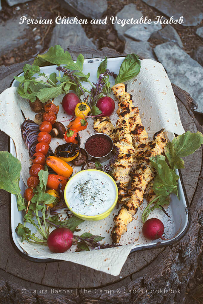 Persian Chicken and Vegetable Kabob from The Camp & Cabin Cookbook: 100 Recipes to Prepare Wherever You Go by Laura Bashar of FamilySpice.com
