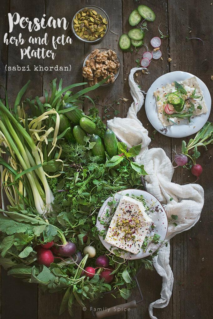 Persian Herb and Feta Platter (Sabzi Khordan) by FamilySpice.com