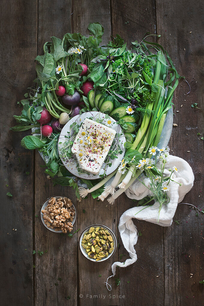 Persian Herb and Feta Platter (Noon-o Panir-o Sabzi) by FamilySpice.com