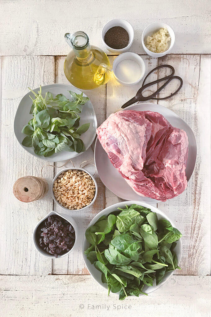 Ingredients for Stuffed Leg of Lamb with Raisins, Spinach and Pine Nuts by FamilySpice.com
