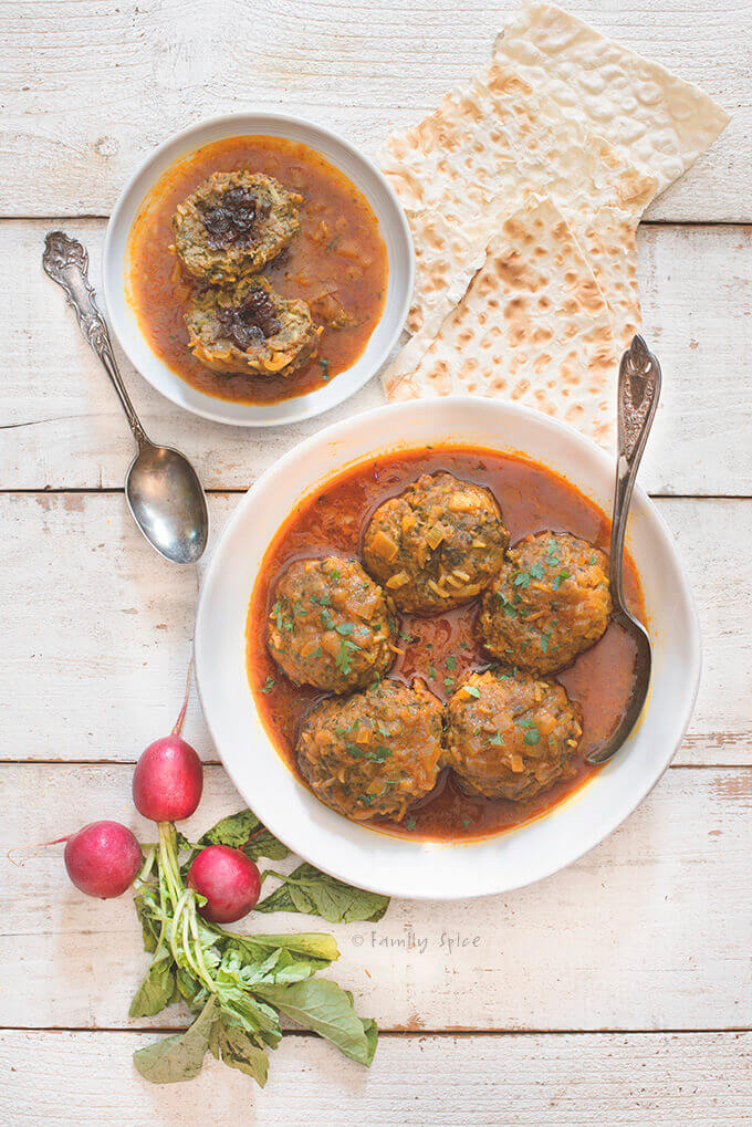 Persian Meatballs with Rice and Raisins - Koofteh Berenji by FamilySpice.com