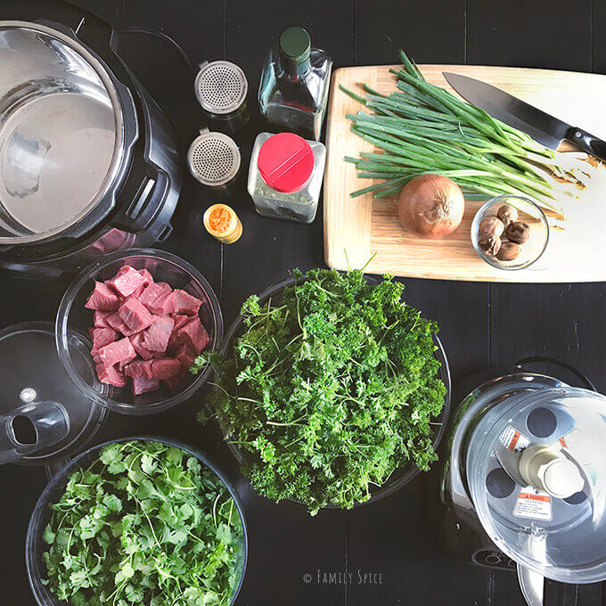 Ingredients and Tools for Instant Pot Gormeh Sabzi (Persian Herb Stew with Beef) by FamilySpice.com
