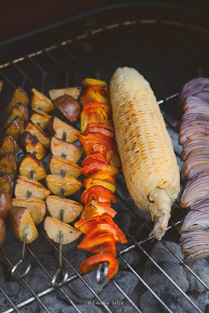 Grilling Vegetables for Grilled Potato Salad with Mustard and Dill Dressing by FamilySpice.com