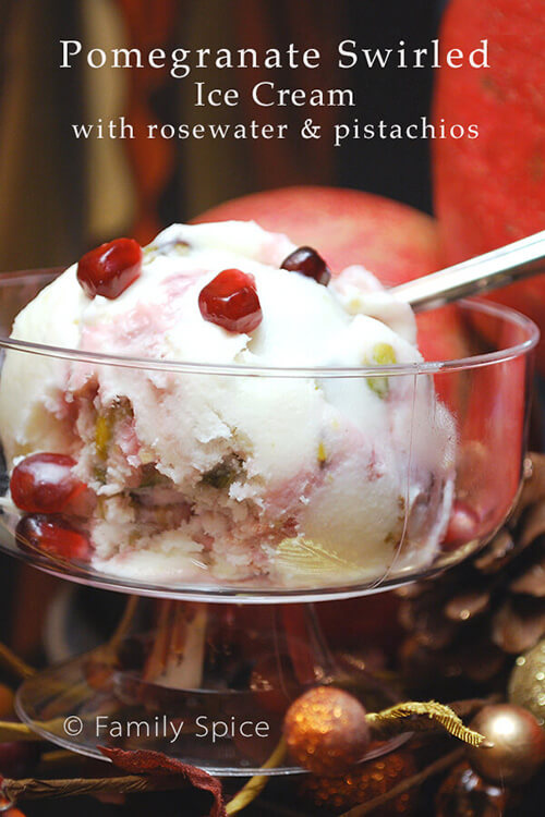 Pomegranate-Swirled Ice Cream with Rosewater & Pistachios