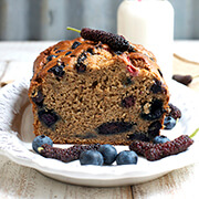 Whole Wheat Banana Bread with Blueberries, Strawberries and Mulberries Detail