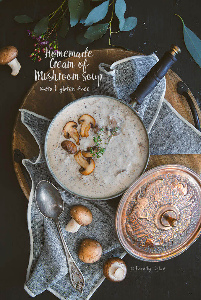 Homemade Gluten Free Cream of Mushroom Soup (Keto Friendly) by FamilySpice.com