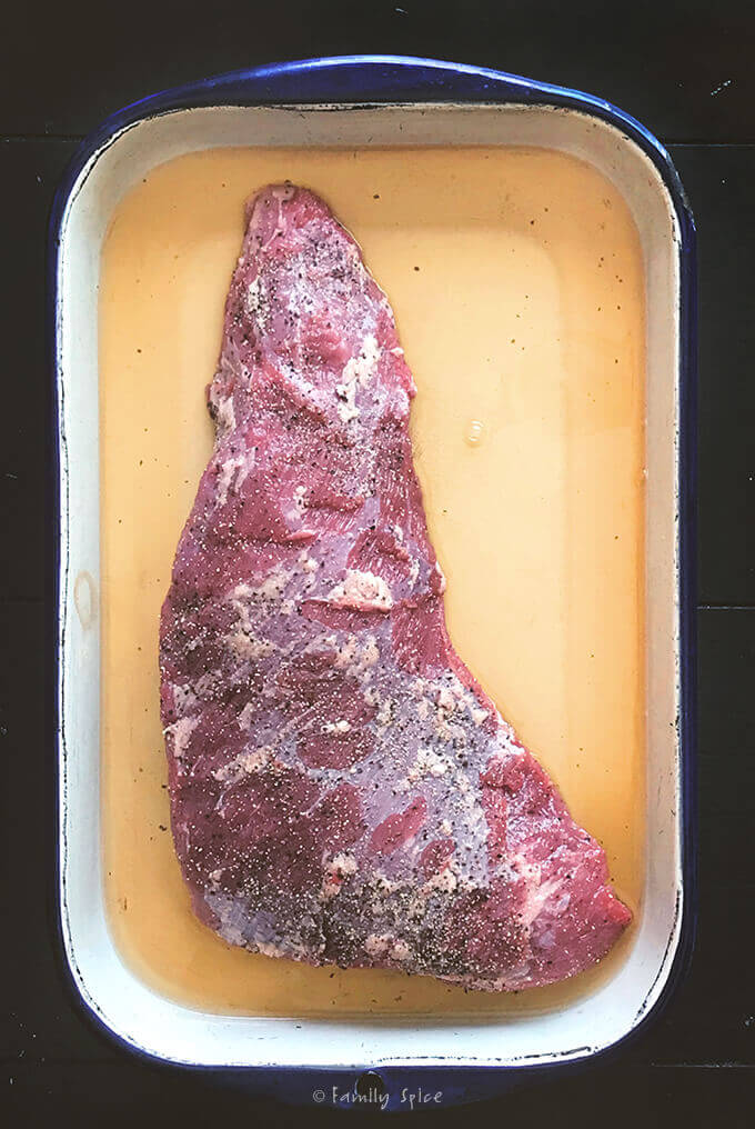 Marinating Whiskey Tri-Tip Roast by FamilySpice.com