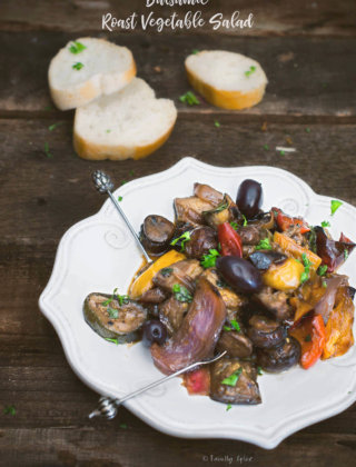 Roasted Balsamic Vegetable Salad on a White Plate with Baguette by FamilySpice.com