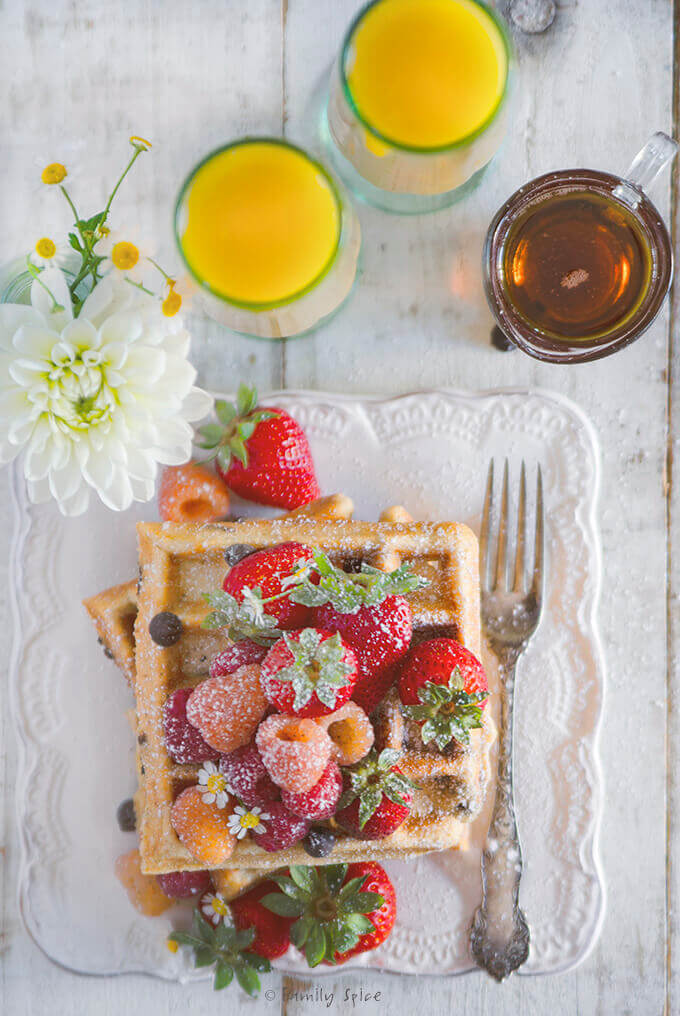 Overhead Shot of Whole Wheat Chocolate Chip Waffles by FamilySpice.com