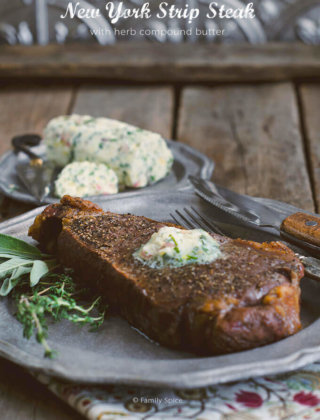 New York Strip Steak with Chive Compound Butter