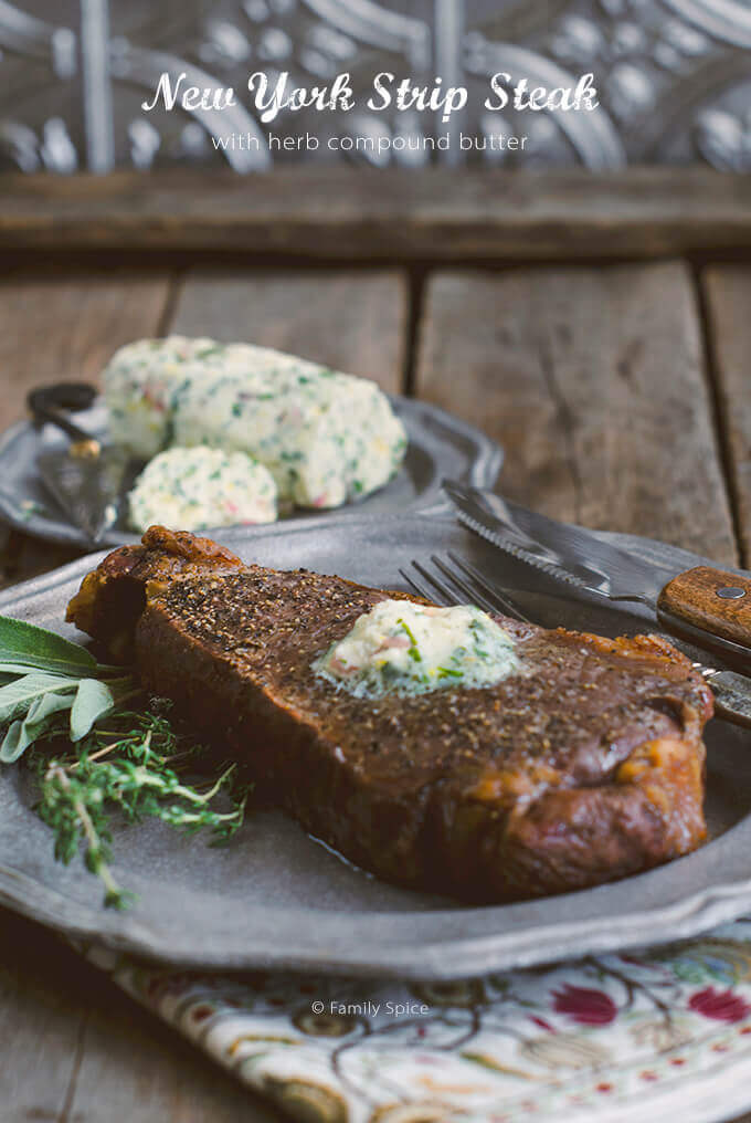 New York Strip Steak with Chive Worcestershire Compound Butter