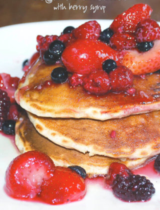 Yogurt Pancakes With Berry Maple Syrup by FamilySpice.com