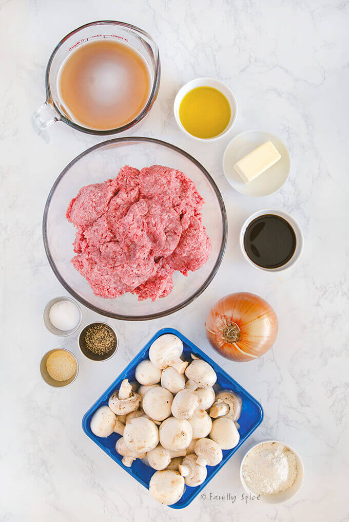 Overhead view of the ingredients needed to make Salisbury steak by FamilySpice.com