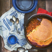 Campfire Dutch Oven Cornbread Chili