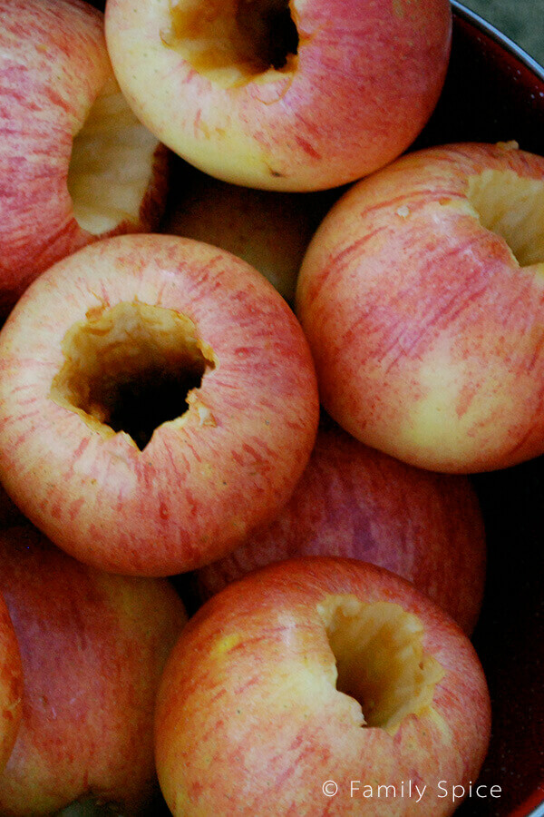 Cored apples ready to be stuffed to make Campfire Baked Apples {Gluten-Free} by FamilySpice.com