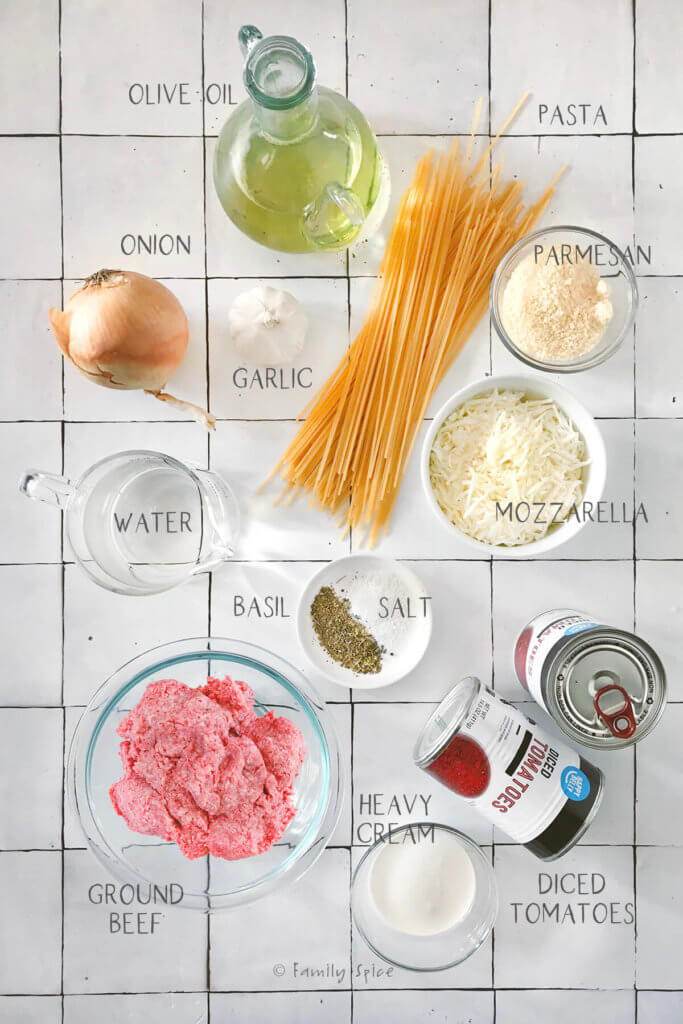 Labeled ingredients you need to make one pan pasta