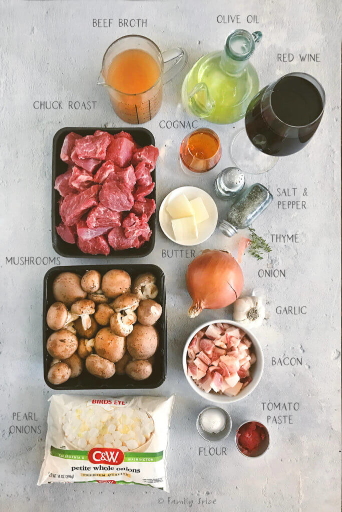 Ingredients labeled and needed to make instant pot beef bourguignon