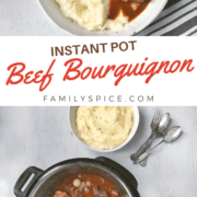 pinterest image for instant pot beef bourguignon