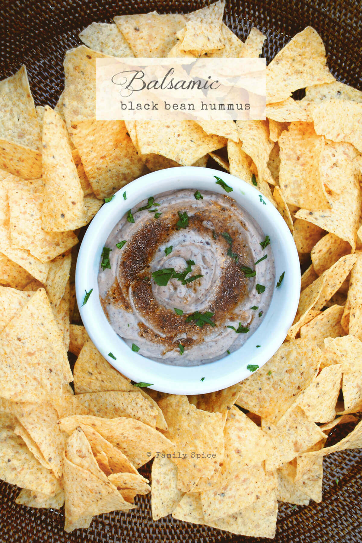 New pin for black bean hummus with balsamic vinaigrette by FamilySpice.com