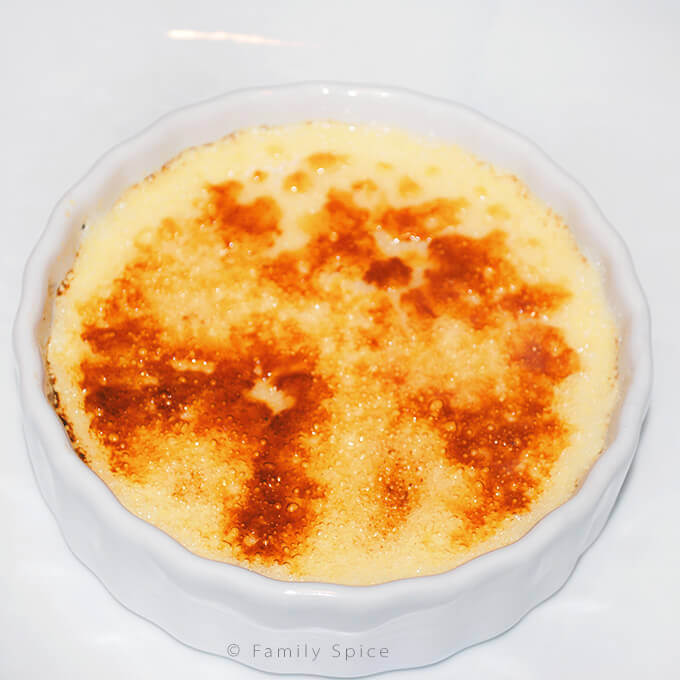 Torching sugar topping for Ina Garten creme brulee by FamilySpice.com
