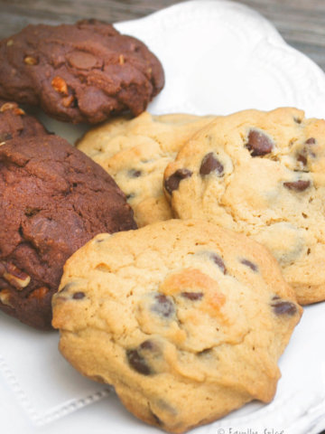 A plate of baked vanilla and chocolate pudding cookies
