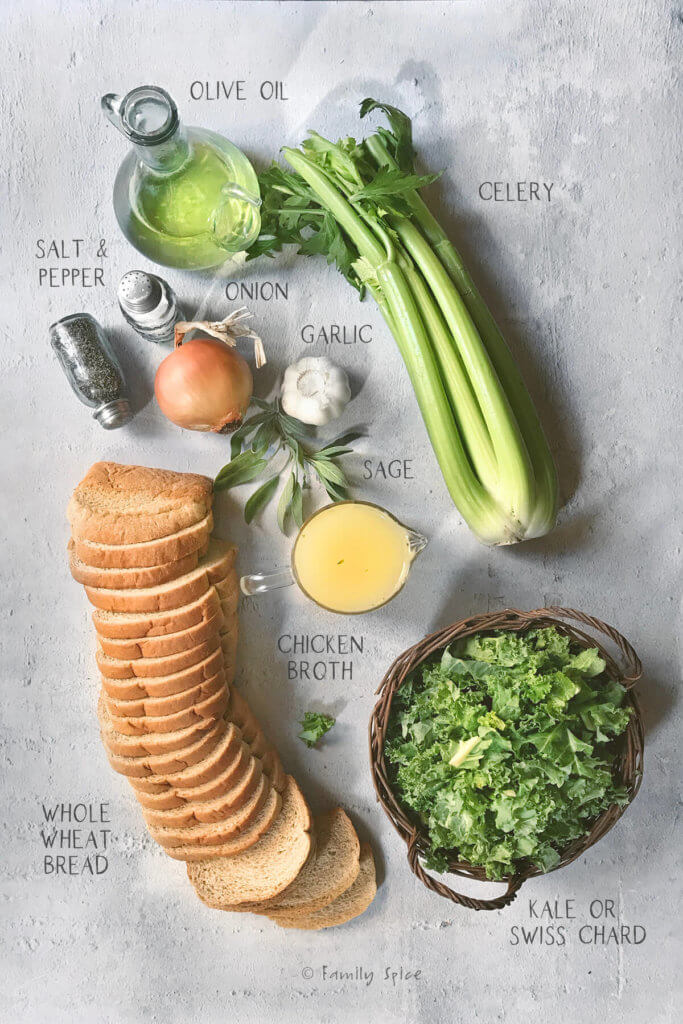 Ingredients needed and labeled to make whole wheat stuffing