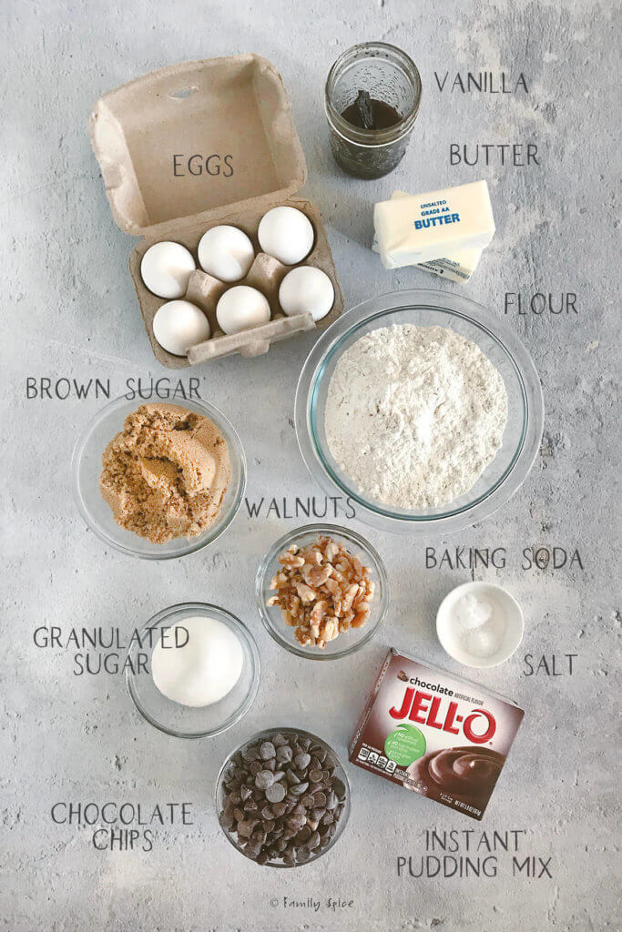 Ingredients labeled and needed to make chocolate pudding cookies
