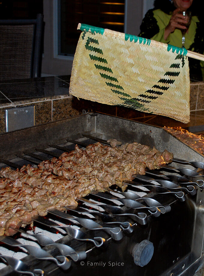 Using a fan to stoke the hot coals while grilling kabob barg by FamilySpice.com