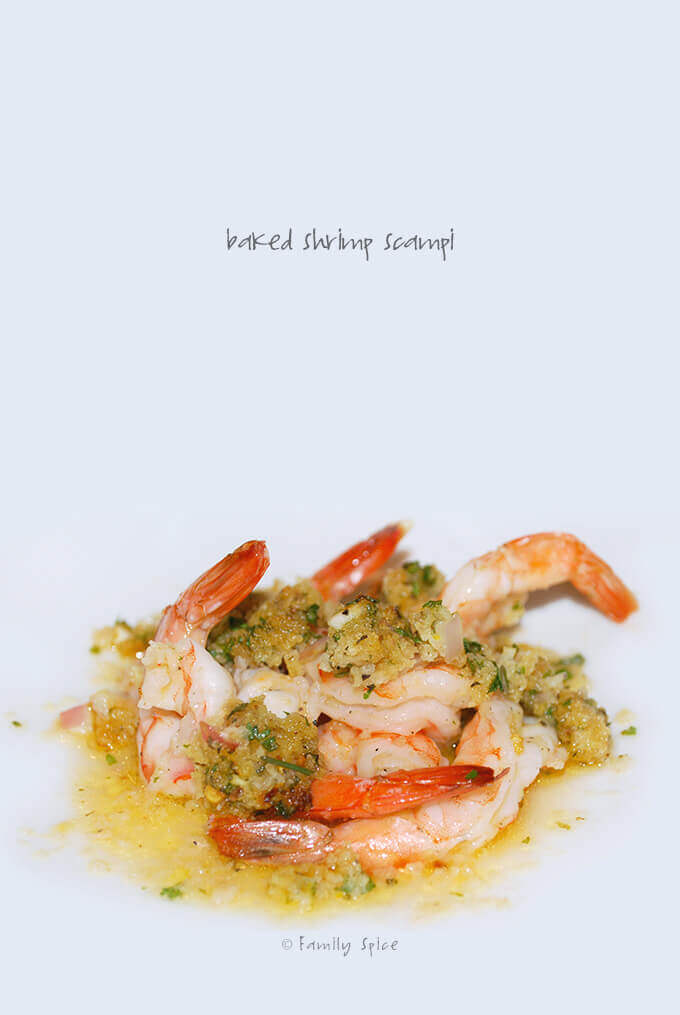 Close up of Ina Garten Baked Shrimp Scampi by FamilySpice.com