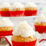 pinterest image for coconut cupcakes by FamilySpice.com