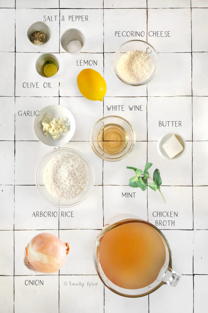 Ingredients you need and labeled to make lemon risotto