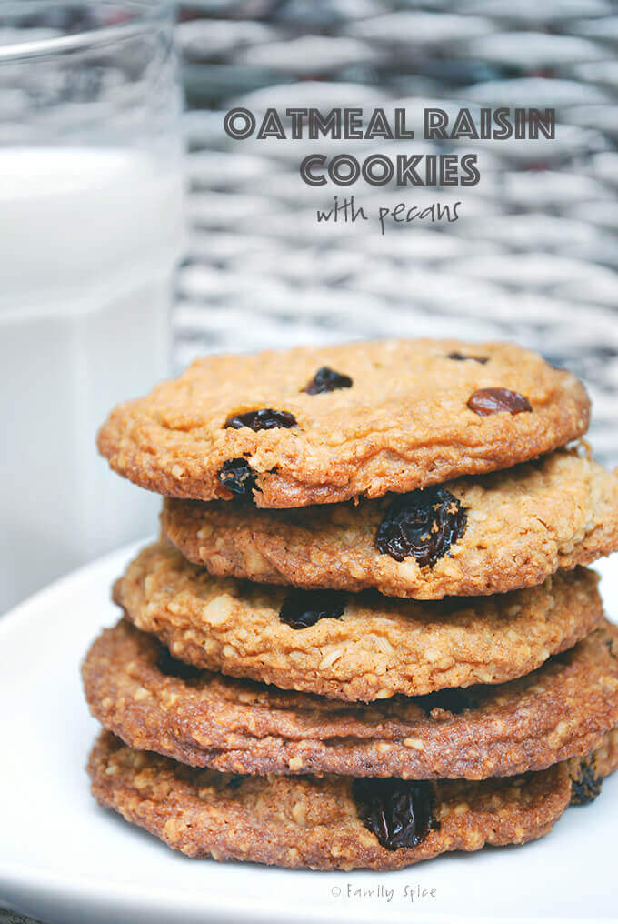 A stack of Ina Garten Oatmeal Cookies with Raisins and Pecans by FamilySpice.com