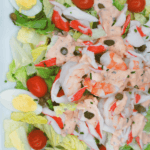 Pinterest image for shrimp and crab Louie salad by FamilySpice.com