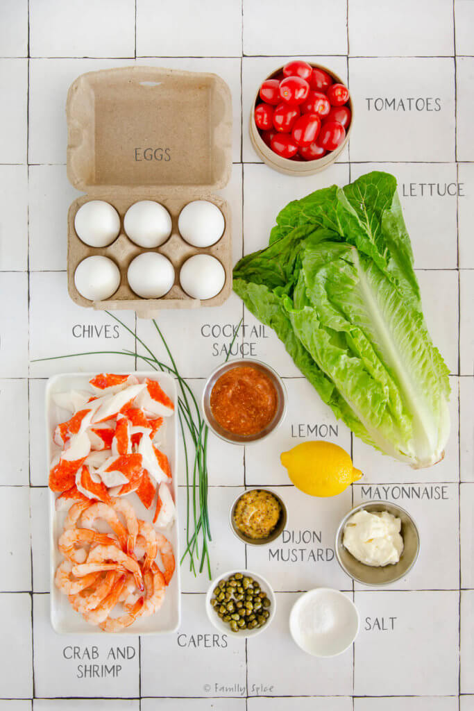 Ingredients labeled and needed to make a shrimp and crab louie salad