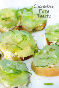 Cucumber Feta Toasts with Olive Oil by FamilySpice.com