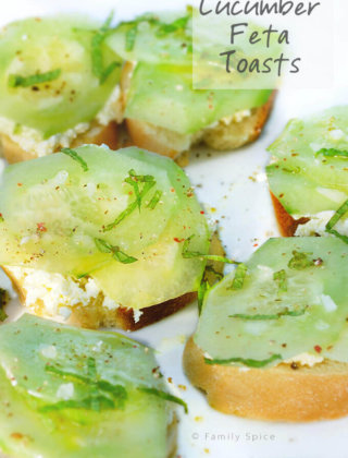Cucumber Feta Toasts with Olive Oil