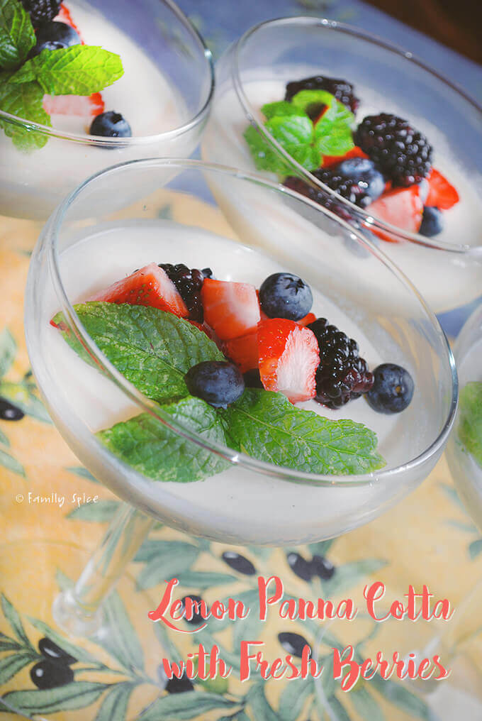 Lemon Panna Cotta with Fresh Berries by FamilySpice.com