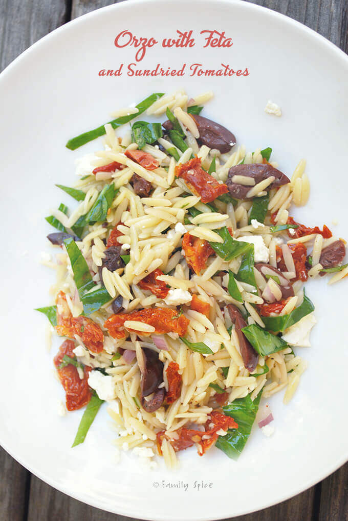 Orzo Pasta Salad with Feta and Sun Dried Tomatoes by FamilySpice.com