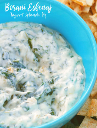A blue bowl with spinach borani by FamilySpice.com