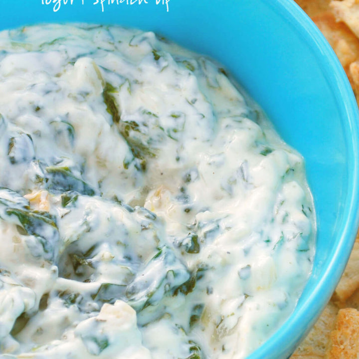 A blue bowl with spinach borani by FamilySpice.com