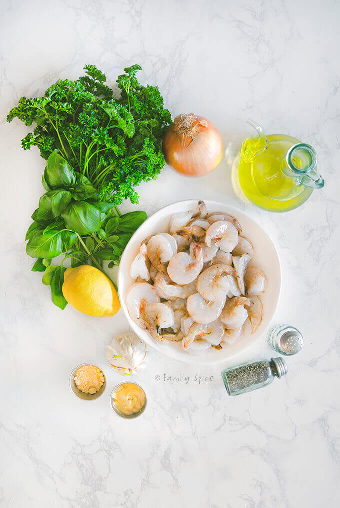 Ingredients to make Ina Garten Grilled Herb Shrimp Kabob by FamilySpice.com